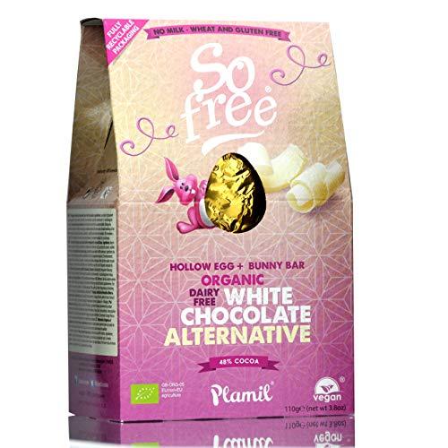 Plamil Osterei Weiße Schokolade - 110 g I Vegan I Laktosefrei I Allergikergeeignet I Geschenkverpackung I Saisonartikel Ostern