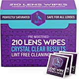 Blue Merlin Lens Wipes | Pre Moistened Glasses Wipes | Perfectly Saturated | Eyeglass Cleaner | Lens Cleaning Wipes | Safe for All Counted Lenses, 210 Wipes