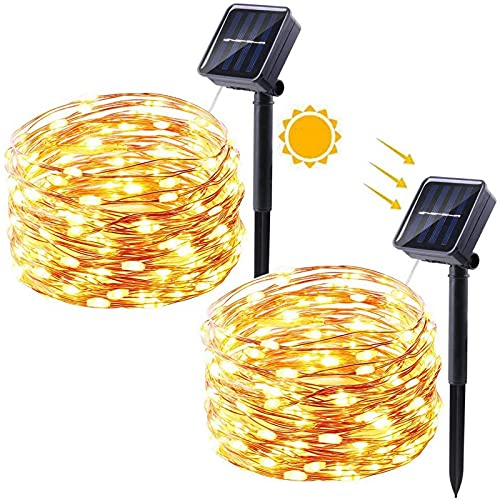 [Lote de 2 guirnaldas luminosas exteriores solares, 12 m, 120 ledes, guirnalda luminosa exterior solar, 8 modos, impermeable, decoración para patio, valla, jardín, terraza casa