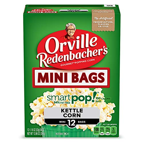 Orville Redenbacher's SmartPop! Kettle Corn Popcorn, 1.16 Ounce Single Serve Bag, 12-Count, Pack of 6