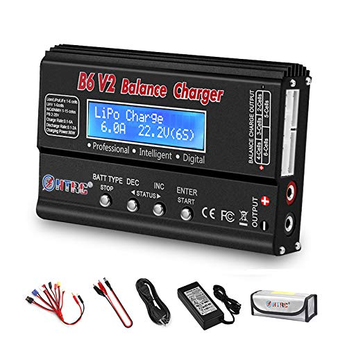 HTRC LiPo Charger RC Balance Fast Charger Discharger 1S-6S AC/DC B6V2 Digital Battery Pack Charger for NiCd Li-ion Life NiMH LiHV PB Smart Batteries (Black)