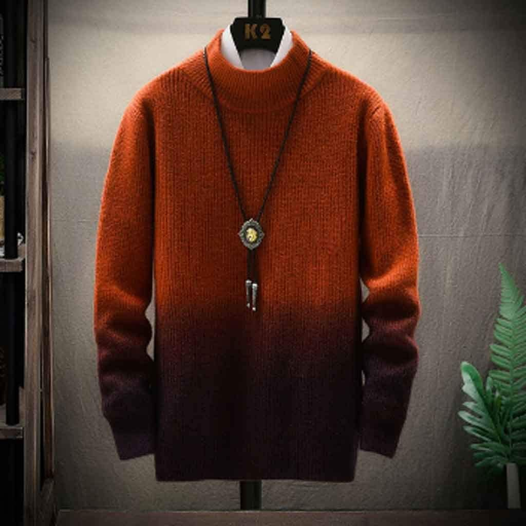 ZYING Christmas Sweater Men Clothes Winter Thick Warm Mens Sweaters Casual Classic Turtleneck Cashmere Pullover Men (Color : L Code)