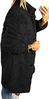Macondoo Women's Sherpa Single Breasted Overcoat Fleece Lapel Pea Coat Jacket