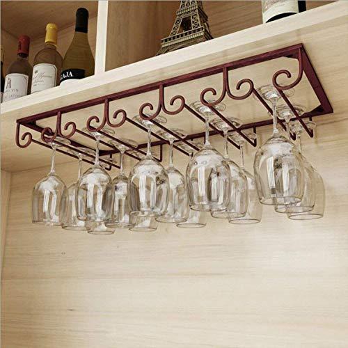 Under Cabinet Wine Hanging Shelves 5 SlotsVintage Wine Glass RackOrganizer Storage CupGoblet Drying ShelfStemware Holder for Home BarHolds up to 10-15 GlassesBronze - MZGH ISLAND