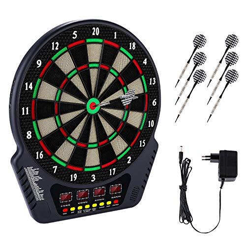 Laiozyen Elektronische Dartscheibe Dardboard mit 4 LCD-Anzeige, 6 Dartpfeilen| 27 Spiele mit 243 Spieloptionen Profi Elektronik Dartspiel E Dartautomat (Typ 1)