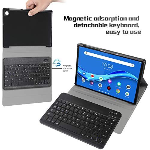 ELTD Tastatur Hülle für Lenovo Tab M10 FHD Plus (Deutsches QWERTZ),Ständer PU Hülle mit magnetisch Abnehmbarer Kabellose Tastatur für Lenovo Tab M10 FHD Plus (2nd Gen) TB-X606F 10.3 Zoll (Schwarz)