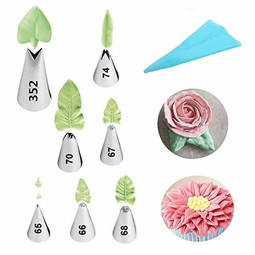 gootrades 7 Piece Leaf Piping Tips Cake Decorating Supplies & 1 Silicone Pastry Bag