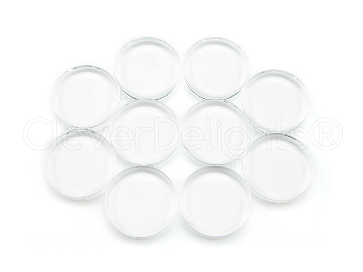 25 CleverDelights 16mm Round Glass Tiles - 5/8