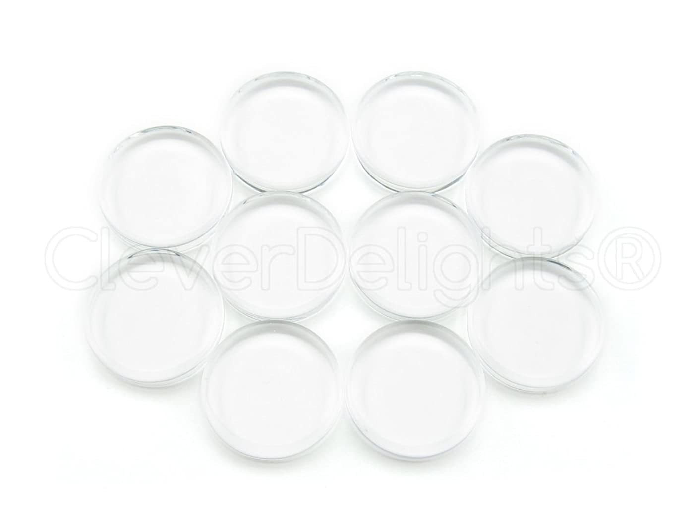 100 CleverDelights 16mm Round Glass Tiles - 5/8