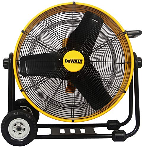 "DEWALT DXF-2490 High-Velocity Industrial, Drum, Floor, Barn, Warehouse Fan, Heavy Duty Air Mover with Adjustable Tilt & Large Wheel, 24"", Yellow"