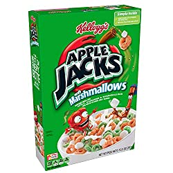 Kellogg's Apple Jacks, Breakfast Cereal, Original with Marshmallows, Excellent Source of Iron, 10.5o