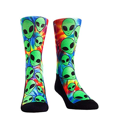 Alien Area 51 UFO Space Invasion Socks (L/XL, Trippy Alien Invasion)