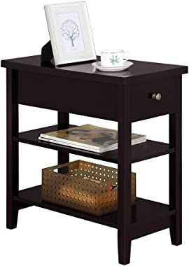 YAHEETECH Nightstand Bedside Table with 2 Shelves 1 Drawer - Sofa Side End Table for Bedroom Espresso