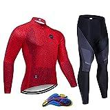 W&TT Conjunto de Jersey de Ciclismo para Hombre, Chaqueta Transpirable de Manga Larga + Pantalones de Bicicleta Acolchados con Gel 20D Kit de Ropa de Montar MTB de Primavera Otoño,F1,XL