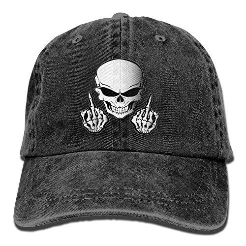 linranshangmao Sch?del Mittelfinger Cowboy Baseballmütze für die Fernlastfahrer Art Hüte der Frauen M?nner