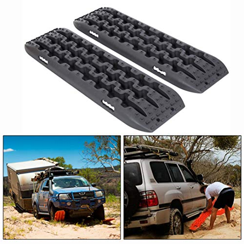 ECOTRIC Recovery Boards Traction Tracks Mat for Sand Mud Snow Off Road Tire Ladder Black 4WD W/Storage Bag (Black)