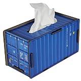 Caja de pañuelos con forma de contenedor azul de Werkhaus