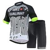 JQKA Conjunto Traje Ciclismo para Verano, Ciclismo Maillot Mangas Cortas y Culotte Bicicleta con 5D Gel Pad, Equipacion Ciclismo para Hombre(Size:Extragrande,Color:Blanco Negro)