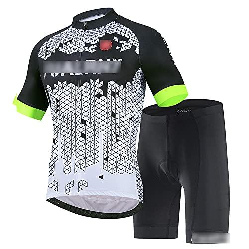 JQKA Conjunto Traje Ciclismo para Verano, Ciclismo Maillot Mangas Cortas y Culotte Bicicleta con 5D Gel Pad, Equipacion Ciclismo para Hombre(Size:XX-Grande,Color:Blanco Negro)