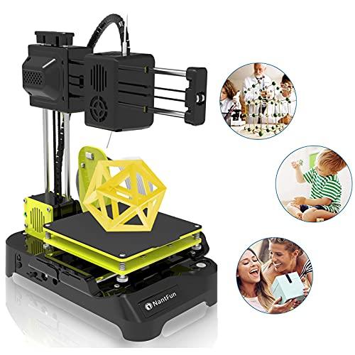 NantFun Mini 3D-Drucker für Kinder und Anfänger, Mini 3D Drucker DIY Kit mit PLA-Filament-1.75mm 10M Weiß, Schnelle Erwärmung, geringes Rauschen, für Zuhause, Schule Office, schwarz-Gelb