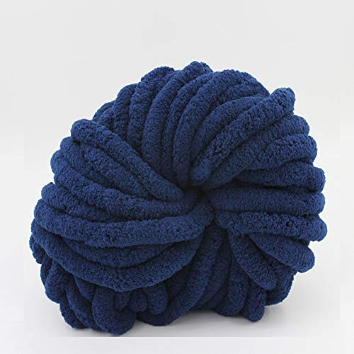 eacho Chunky Chenille Yarn Huge Yarn,Super Roving Blanket Yarn DIY, Suitable for Any Weave and Crochet,Dark Blue21,2.2LB