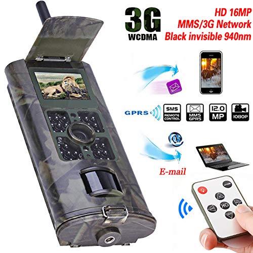 3G Wildkamera Mit Bewegungsmelder Nachtsicht Handyübertragung 16MP 1080P MMS Wildkamera GSM Jagdkamera, 0,5s Auslösezeit, Infrarote 24m 940nm IR LED IP56 Wasserdicht