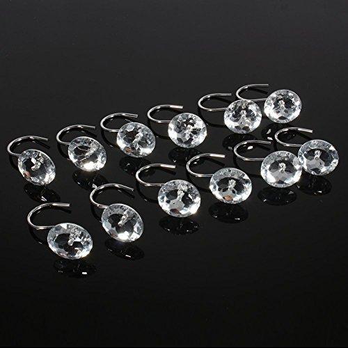 Xshelley Duschvorhang-Haken, Acryl, Diamanten, mit Strasssteinen, 12 Stück (weiß)