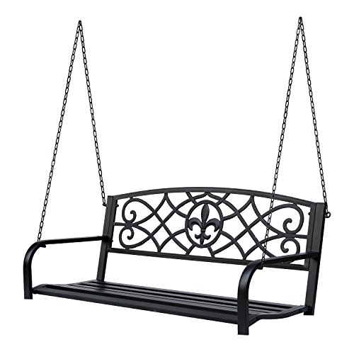 Outsunny Steel Fleur-de-Lis Design Outdoor Porch Swing Seat Bench with Chains for The Yard, Deck, Backyard, Black
