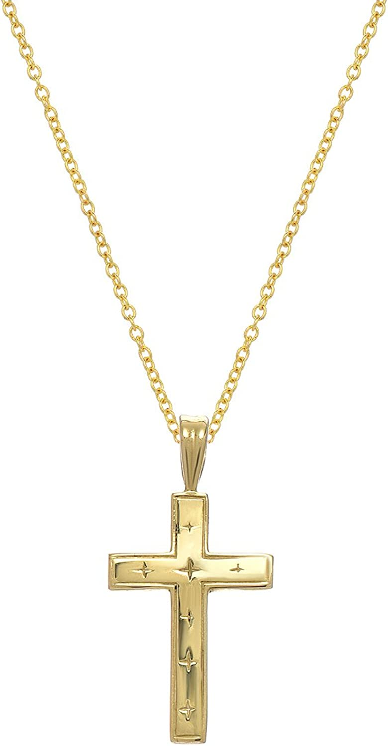 10K Yellow gold Cross Necklace, 18