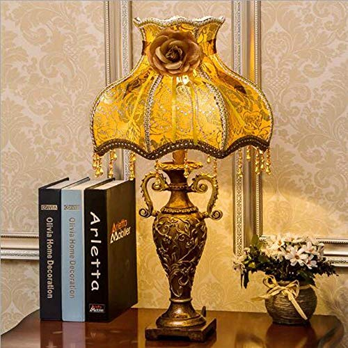 LG Snow Lámpara retro de estilo europeo de tela para dormitorio, matrimonio, celebrar boda, sala de estar, antigua mesita de noche, 33 x 52 cm (color: A)