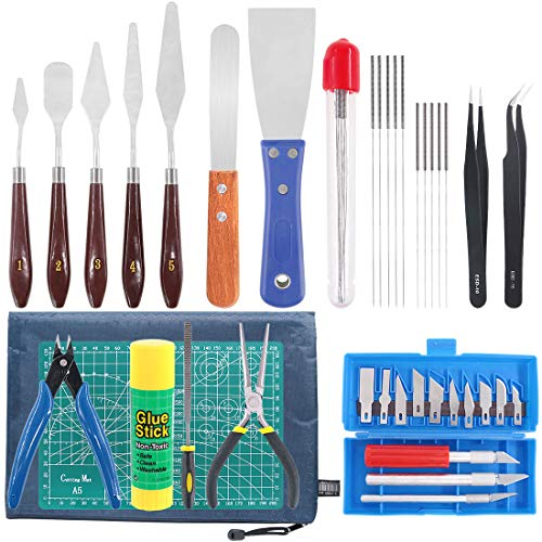 Rustark 40 Piece 3D Printer Accessories Tool Kit, Spatulas,Tweezers,File, Needles,Cutting Mat and More 3D Printing Tools for Removal, Clean-up, Finish 3D Printers
