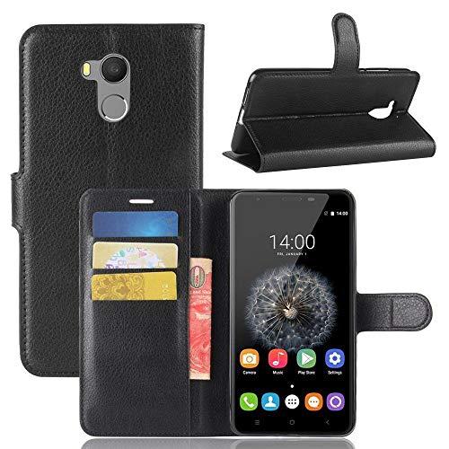 tinyue® Handyhülle für Oukitel U15 Pro / U15s, PU-Ledertasche Flip Case Halterung, mit Kartenfach, Magnetschnalle Litschi Textur Leder Handy Hülle Stand Feature, Schwarz
