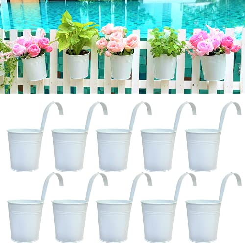 Hanging Planters - 10 Pack, 4 Inch Balcony Planters Railing Hanging Herb Garden Wall White Metal Bucket Fence Planters for Outdoor Plants Flower Pot Deck Rail Porch Window Box Hooks Macetas Colgante