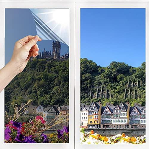 N/V Spiegelfolie Selbstklebend Sichtschutz Wärmeisolierung Sonnenschutzfolie Innen Fensterfolie UV-Schutz Silber(60 x 200 cm)