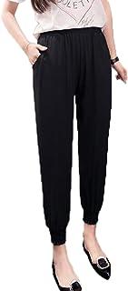 SHUNYI レディース テーパードパンツ 春夏 薄手 ゆったり ロング カジュアル サルエルパンツ ゴムウェスト 通勤