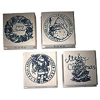 VALICLUD シックな4個のクリスマスパターン木製スタンプパターンノートブック日記スタンパー長方形スタンパーシールスタンパー