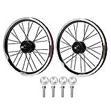 Ruote per bici da strada,set di ruote per bici da strada in lega di alluminio con freno a disco da 16 pollici e 6 chiodi,set di ruote per bici da corsa professionale,ruote per bici pieghevoli(nero)