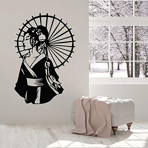 wopiaol Beauty Geisha Muursticker Met Paraplu Kimono Aziatische Stijl Vinyl Raam Stickers Vrouw Slaapkamer Salon Interieur Decor Mural