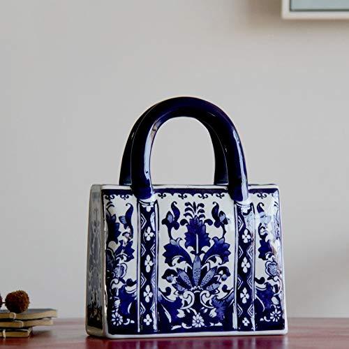 ZYG222 Chinese blauwe en witte keramische handtas vorm vaas porselein vaas voor kunstmatige bloem decoratieve vaas