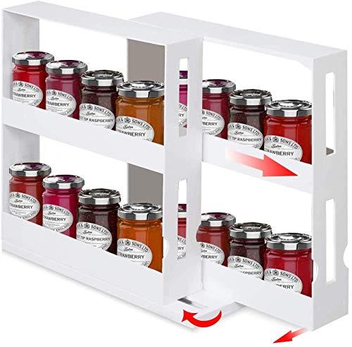 XUFAN Caja de Almacenamiento Estante de la Especia, Multifuncional Caja de almacenaje de la Cocina Especias rotación, Mueble de Cocina/Armario/mostrador condimento Estante Tarro de la Especia espe