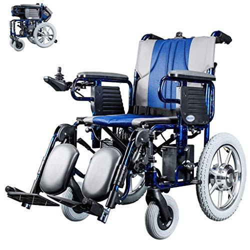SED Carro Ligero Silla de Ruedas Eléctrica Auxiliar Silla de Ruedas Plegable Sistema de Control Dual Manual Motor Doble para Discapacitados Ancianos Hemiplejia Paraplejia Asistencia para Caminar Carr