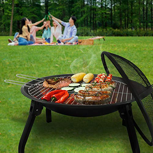 Bigzzia Round Foldable Fire Pit Outdoor Garden Patio Heater Camping Bowl BBQ Brazier with Carry bag