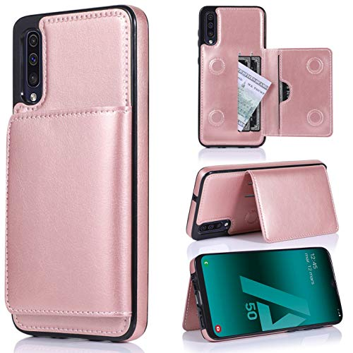 ZYZXBJ Samsung Galaxy A50/A50S/A30S Wallet Phone Case, Credit Card Kickstand Holder Premium PU Leather Double Magnetic Buttons Flip Shockproof Protective Cover Case for Samsung Galaxy A50 Rose Gold