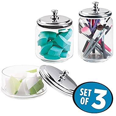 mDesign Bathroom Vanity Glass Apothecary Jars for Cotton Balls, Swabs, Cosmetic Pads - Set of 3, Clear/Chrome