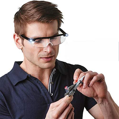 Unisex Lesebrille Presbyopie Brille Sehhilfe Lesehilfe mit Licht Mighty Sight LED 160% Lupe Brille Lesebrille Nachtlesung mit kostenpflichtiger Lichtvergrößerung