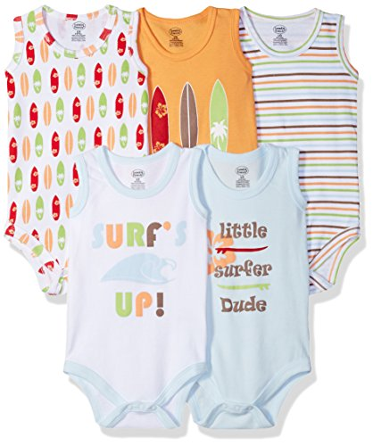 Luvable Friends - Conjunto de 5 Body sin Mangas para niña, Surfer, 3-6 Meses