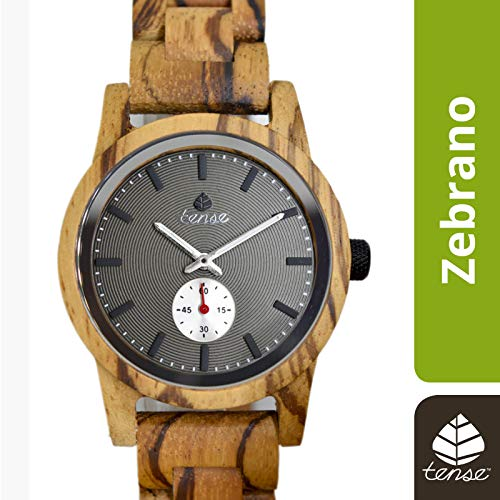 TENSE Holzuhr Herren Zebranoholz Ø 40 mm Armbanduhr Hampton analog Quarz B4700Z-B