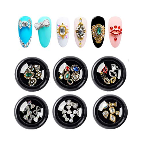 36pcs 3d Bows Nail Art Rhinestones, Alloy Jewelry Diy Nail Flatback Crystals Decoration,Manicure Charms Large Mix Sizes Crystal Diamonds Gems Stones Nail Art Supplies