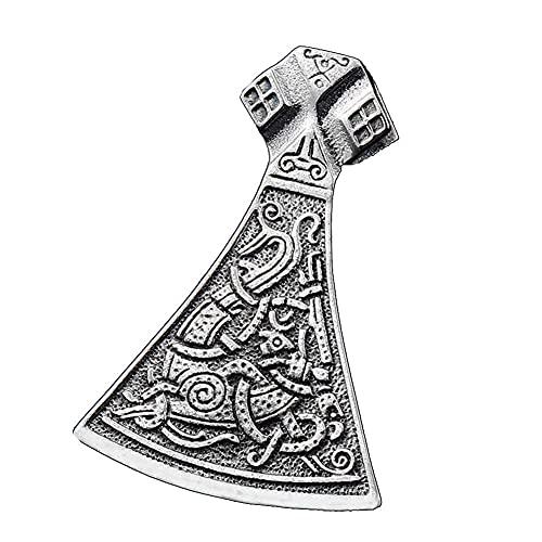 AMOZ Heren Nordic Pirate Retro Viking Axe Hanger Ketting, Roestvrijstalen Keltische Zilveren Sieraden, Echte Lederen Ketting, Titanium Stalen Metalen Accessoires, Geluk/Amulet