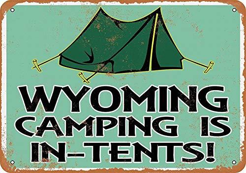 mefoll cartel decorativo para pared con texto en inglés 'Wyoming Camping is in Tiends' de metal divertido de 12 x 16 cm